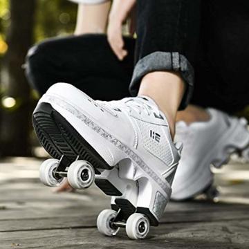 FLY FLU Schuhe Mit Rollen Skateboardschuhe,Inline-Skate,2-in-1-Mehrzweckschuhe,Verstellbare Quad-Rollschuh-Stiefel-Männliche Und Weibliche Paare 35-43EU,White-38 - 6