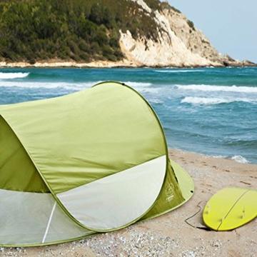 GOODS+GADGETS Canyon Cruise Strandmuschel Pop Up Strand-Zelt Windschutz am Strand Wurfzelt Blitzschnell Selbstaufbauendes Sonnensegel Outdoor Zelt Automatik Muschel mit UV-Sonnenschutz - 6