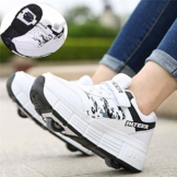 NNN Sportschuhe Skateboard Outdoor Gymnastik Turnschuhe Jungen Mädchen Freizeitschuh Schuhe Mit Rollen Drucktaste Einstellbare Skateboardschuhe Für Kinder Mädchen Junge Erwachsene,White1-42… - 1