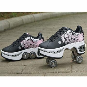 Pinkskattings@ Damen Und Mädchen Rollschuhe Skateboard Schuhe Kinderschuhe Mit Rollen Skate Shoes Rollen Schuhe Sportschuhe Laufschuhe Sneakers Mit Rollen Kinder, Schwarz,37 - 2