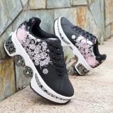Pinkskattings@ Damen Und Mädchen Rollschuhe Skateboard Schuhe Kinderschuhe Mit Rollen Skate Shoes Rollen Schuhe Sportschuhe Laufschuhe Sneakers Mit Rollen Kinder, Schwarz,37 - 1