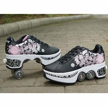 Pinkskattings@ Damen Und Mädchen Rollschuhe Skateboard Schuhe Kinderschuhe Mit Rollen Skate Shoes Rollen Schuhe Sportschuhe Laufschuhe Sneakers Mit Rollen Kinder, Schwarz,37 - 3
