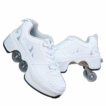 Rollschuhe Mädchen Damen, Schuhe Mit Rollen Fur Jungen Kinder, Quad Skate Rollerskates Herren, Verstellbare 2 In 1 Inline Skates Unisex, Sport Freizeit Skateboardschuhe - 1