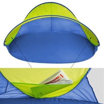 TecTake 800196 Pop Up Strandmuschel Wurfzelt 220x120x100cm mit UV Schutz - Diverse Farben - (Blau Gelb | Nr. 401680) - 2
