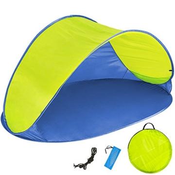 TecTake 800196 Pop Up Strandmuschel Wurfzelt 220x120x100cm mit UV Schutz - Diverse Farben - (Blau Gelb | Nr. 401680) - 1
