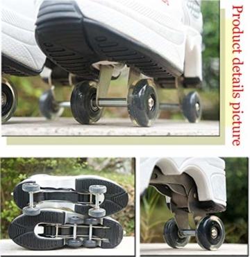 ZZ Inline-Skate Rollschuh Roller Skates Lauflernschuhe,Sneakers,2in1 Mehrzweckschuhe Schuhe Mit Rollen Skateboardschuhe,Inline-Skate,Verstellbare Quad-Rollschuh Stiefel Skateboardschuhe,White-EU34 - 2