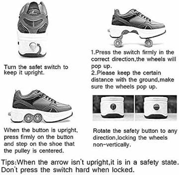 ZZ Inline-Skate Rollschuh Roller Skates Lauflernschuhe,Sneakers,2in1 Mehrzweckschuhe Schuhe Mit Rollen Skateboardschuhe,Inline-Skate,Verstellbare Quad-Rollschuh Stiefel Skateboardschuhe,White-EU34 - 4