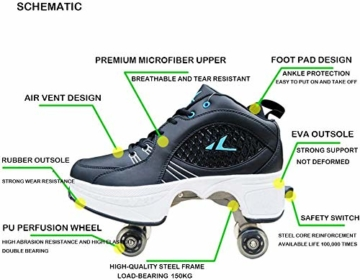 ZZ Inline-Skate Rollschuh Roller Skates Lauflernschuhe,Sneakers,2in1 Mehrzweckschuhe Schuhe Mit Rollen Skateboardschuhe,Inline-Skate,Verstellbare Quad-Rollschuh Stiefel Skateboardschuhe,White-EU34 - 5