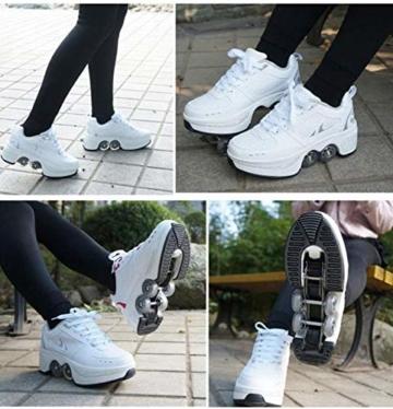 ZZ Inline-Skate Rollschuh Roller Skates Lauflernschuhe,Sneakers,2in1 Mehrzweckschuhe Schuhe Mit Rollen Skateboardschuhe,Inline-Skate,Verstellbare Quad-Rollschuh Stiefel Skateboardschuhe,White-EU34 - 7