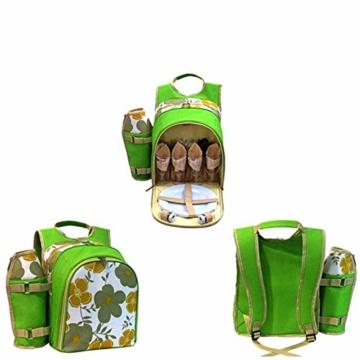 1yess Picknick-Korb Tote Super Deluxe Vier Personen Picknickrucksack Inklusive 29 Stück ESS-Set Kühlfach, um Lebensmittel frisch zu Reise/Picknick/Sport/Flight zu Halten - 2