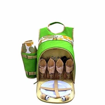 1yess Picknick-Korb Tote Super Deluxe Vier Personen Picknickrucksack Inklusive 29 Stück ESS-Set Kühlfach, um Lebensmittel frisch zu Reise/Picknick/Sport/Flight zu Halten - 3