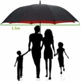 AAGYJ 150cm Golfschirm Starker winddichter halbautomatischer Langer Regenschirm Großer Geschäftsschirm für Männer und Frauen, Sonnenschirm Sonnenschirm,Rot - 1