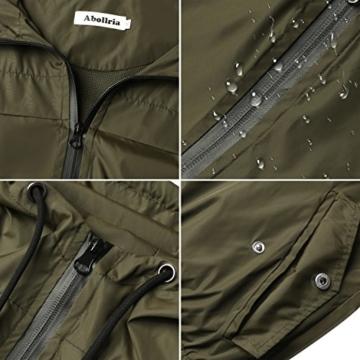 Abollria Damen Regenjacke Leichte Kurze Jacke mit Atmungsaktiv Futter Herbst wasserdichte Übergangjacken mit Kapuze - 2