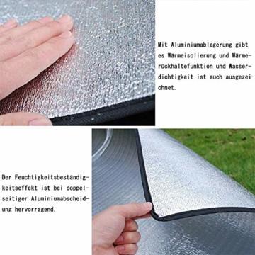 Aehma Alu Isomatte Schaummatten Schlafmatte für Camping 200x150 cm Isoliermatte Isolierdecke Faltbare Zeltmatte Bodenmatte Thermomatte Matte aus Aluminiumfolie, Ultraleicht (Silber, 200 x 150 cm) - 2