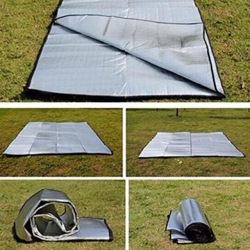 Aehma Alu Isomatte Schaummatten Schlafmatte für Camping 200x150 cm Isoliermatte Isolierdecke Faltbare Zeltmatte Bodenmatte Thermomatte Matte aus Aluminiumfolie, Ultraleicht (Silber, 200 x 150 cm) - 3
