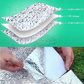 Aehma Alu Isomatte Schaummatten Schlafmatte für Camping 200x150 cm Isoliermatte Isolierdecke Faltbare Zeltmatte Bodenmatte Thermomatte Matte aus Aluminiumfolie, Ultraleicht (Silber, 200 x 150 cm) - 4