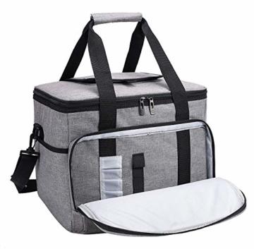 ALLCAMP 30L Kühltasche Faltbare Picknicktasche Thermo Tasche Isoliertasche Kühlkorb Kühlbox isolierbox mit 2 kühlakkus Grau - 2