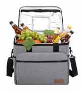 ALLCAMP 30L Kühltasche Faltbare Picknicktasche Thermo Tasche Isoliertasche Kühlkorb Kühlbox isolierbox mit 2 kühlakkus Grau - 1