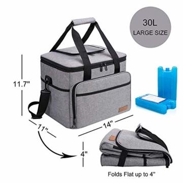 ALLCAMP 30L Kühltasche Faltbare Picknicktasche Thermo Tasche Isoliertasche Kühlkorb Kühlbox isolierbox mit 2 kühlakkus Grau - 3
