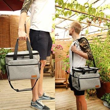 ALLCAMP 30L Kühltasche Faltbare Picknicktasche Thermo Tasche Isoliertasche Kühlkorb Kühlbox isolierbox mit 2 kühlakkus Grau - 4