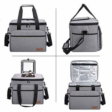 ALLCAMP 30L Kühltasche Faltbare Picknicktasche Thermo Tasche Isoliertasche Kühlkorb Kühlbox isolierbox mit 2 kühlakkus Grau - 5