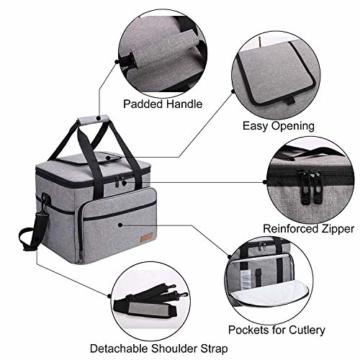 ALLCAMP 30L Kühltasche Faltbare Picknicktasche Thermo Tasche Isoliertasche Kühlkorb Kühlbox isolierbox mit 2 kühlakkus Grau - 6