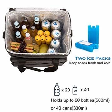 ALLCAMP 30L Kühltasche Faltbare Picknicktasche Thermo Tasche Isoliertasche Kühlkorb Kühlbox isolierbox mit 2 kühlakkus Grau - 7