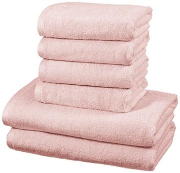Amazon Basics - Handtuch-Set, schnelltrocknend, 2 Badetücher und 4 Handtücher - Blütenrosa, 100% Baumwolle - 1