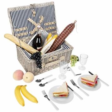 anndora Picknickkorb 2 Personen Weidenkorb mit Kühlfach + Zubehör 11 TLG. - 6