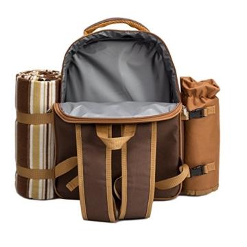 apollo walker 4 Person Picknick Rucksack Hamper Kühltasche mit Geschirr Set & Decke - 3