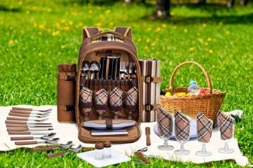 apollo walker 4 Person Picknick Rucksack Hamper Kühltasche mit Geschirr Set & Decke - 4