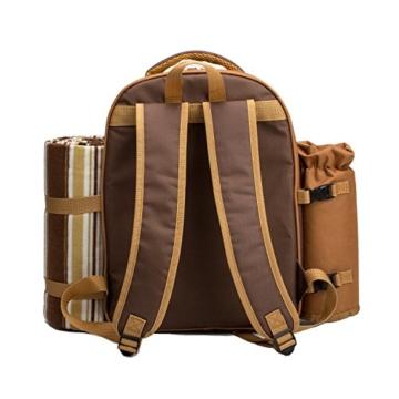 apollo walker 4 Person Picknick Rucksack Hamper Kühltasche mit Geschirr Set & Decke - 7