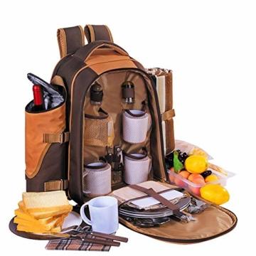apollo walker 4 Personen Picknick Rucksack Picknick Rucksack Tasche Hamper Cooler Bag mit Geschirr Set & Decke - 2