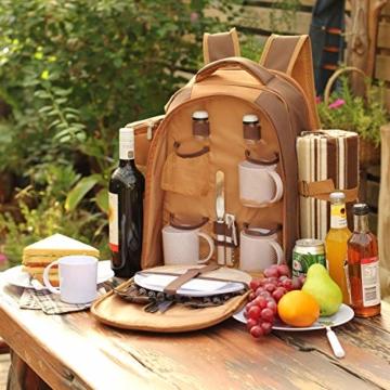 apollo walker 4 Personen Picknick Rucksack Picknick Rucksack Tasche Hamper Cooler Bag mit Geschirr Set & Decke - 3