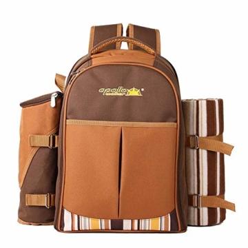 apollo walker 4 Personen Picknick Rucksack Picknick Rucksack Tasche Hamper Cooler Bag mit Geschirr Set & Decke - 4