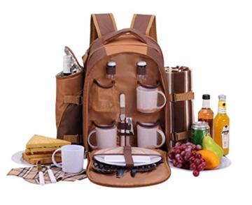 apollo walker 4 Personen Picknick Rucksack Picknick Rucksack Tasche Hamper Cooler Bag mit Geschirr Set & Decke - 1