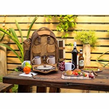 apollo walker 4 Personen Picknick Rucksack Picknick Rucksack Tasche Hamper Cooler Bag mit Geschirr Set & Decke - 5
