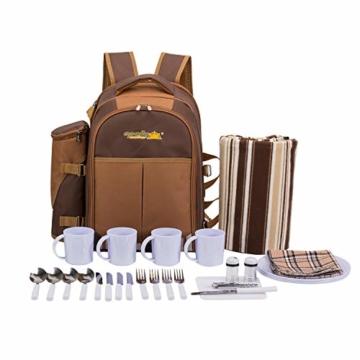 apollo walker 4 Personen Picknick Rucksack Picknick Rucksack Tasche Hamper Cooler Bag mit Geschirr Set & Decke - 6