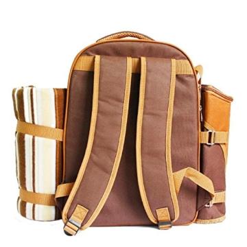 apollo walker 4 Personen Picknick Rucksack Picknick Rucksack Tasche Hamper Cooler Bag mit Geschirr Set & Decke - 7