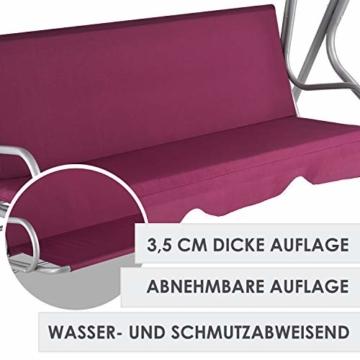 ArtLife Hollywoodschaukel 3-Sitzer mit Dach & Sitzauflage – Gartenschaukel 200 kg belastbar – Schaukelbank für Garten & Terrasse - rot - 3