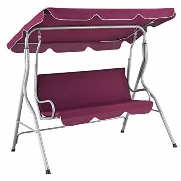ArtLife Hollywoodschaukel 3-Sitzer mit Dach & Sitzauflage – Gartenschaukel 200 kg belastbar – Schaukelbank für Garten & Terrasse - rot - 1