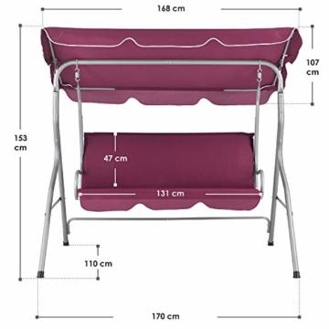 ArtLife Hollywoodschaukel 3-Sitzer mit Dach & Sitzauflage – Gartenschaukel 200 kg belastbar – Schaukelbank für Garten & Terrasse - rot - 5