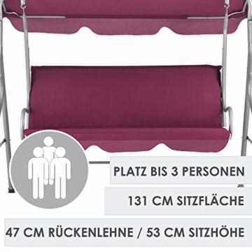 ArtLife Hollywoodschaukel 3-Sitzer mit Dach & Sitzauflage – Gartenschaukel 200 kg belastbar – Schaukelbank für Garten & Terrasse - rot - 7