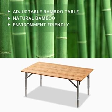 ATEPA Bamboo Klapptisch 4 Falten Tisch Mit 2 Verstellbaren Höhen Leichte Beine aus Aluminiumlegierung Anti UV Beschichtung mit Tragetasche für 2 bis 6 Personen Camping Garden - 2