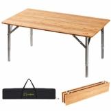 ATEPA Bamboo Klapptisch 4 Falten Tisch Mit 2 Verstellbaren Höhen Leichte Beine aus Aluminiumlegierung Anti UV Beschichtung mit Tragetasche für 2 bis 6 Personen Camping Garden - 1