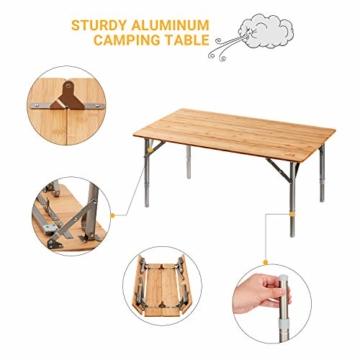 ATEPA Bamboo Klapptisch 4 Falten Tisch Mit 2 Verstellbaren Höhen Leichte Beine aus Aluminiumlegierung Anti UV Beschichtung mit Tragetasche für 2 bis 6 Personen Camping Garden - 3