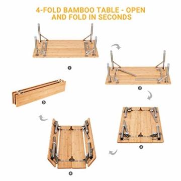 ATEPA Bamboo Klapptisch 4 Falten Tisch Mit 2 Verstellbaren Höhen Leichte Beine aus Aluminiumlegierung Anti UV Beschichtung mit Tragetasche für 2 bis 6 Personen Camping Garden - 4