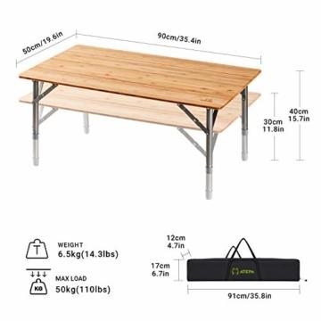 ATEPA Bamboo Klapptisch 4 Falten Tisch Mit 2 Verstellbaren Höhen Leichte Beine aus Aluminiumlegierung Anti UV Beschichtung mit Tragetasche für 2 bis 6 Personen Camping Garden - 5