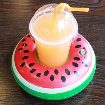 Aufblasbare Getränkehalter,Legends Einhorn Flamingo Palm Island Krapfen Frucht Cartoon Aufblasbares Flaschenhalter Badespielzeug Pool Untersetzer für Bier Getränke Saft (9 Stück-Mehrfarbig) - 4