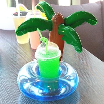 Aufblasbare Getränkehalter,Legends Einhorn Flamingo Palm Island Krapfen Frucht Cartoon Aufblasbares Flaschenhalter Badespielzeug Pool Untersetzer für Bier Getränke Saft (9 Stück-Mehrfarbig) - 7